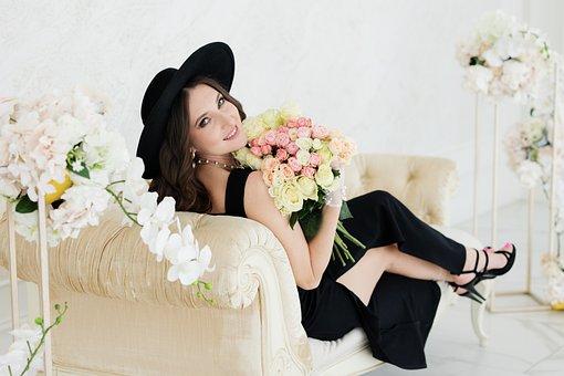Woman, Fashion, Flowers, Black Dress, Bouquet, Hat
