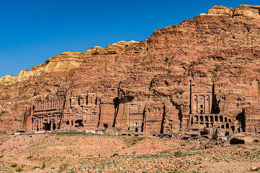 Petra, Jordan, King Wall, Royal Tombs, Sand Stone