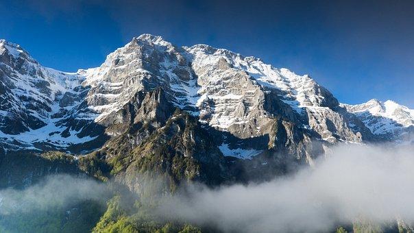 Mountains, Summit, Clouds, Fog, Snow, Peak