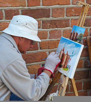 Man, Painter, Painting, Artist, Brush, Person, Elderly