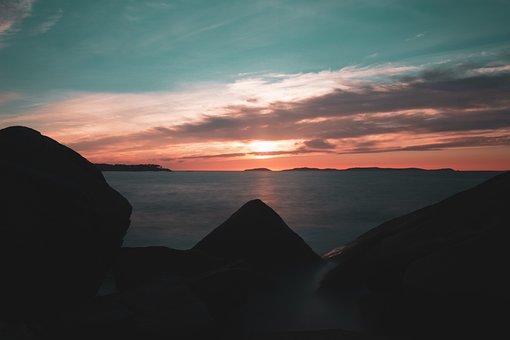 Islands, Sea, Sunset, Sunrise, Rocks, Silhouette, Cíes