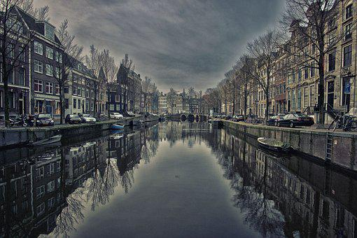 Amsterdam, City, Channel, Reflection, Water, Canal