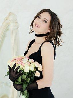 Woman, Fashion, Flowers, Black Dress, Bouquet, Beauty