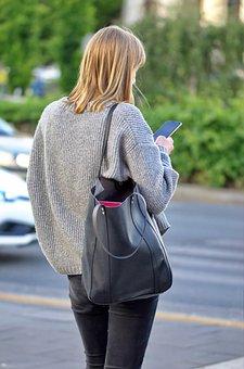 Woman, Smartphone, City, Girl, Casual, Fashion, Bag