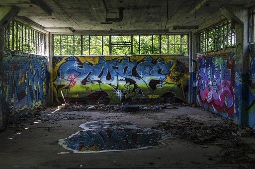 Graffiti, Garage, Wall, Vandalism, Building, Colorful