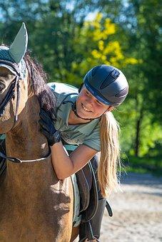 Horsewoman, Horse, Equine, Horseback Riding, Happy, Joy