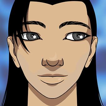 Man, Smile, Black Hair, Long Hair, Handsome, Portrait