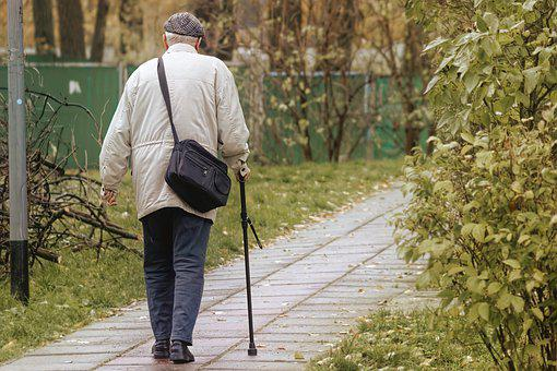 Old Man, Walking Stick, Pavement, Senior, Elderly, Aged