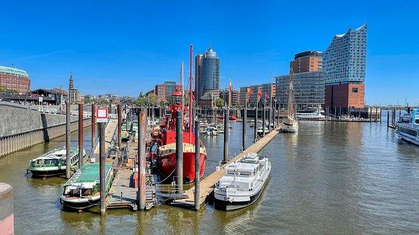 City, Port, Hamburg, River, Elbe Philharmonic Hall