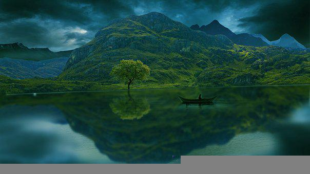 Lake, Boat, Tree, Mountains, Reflection