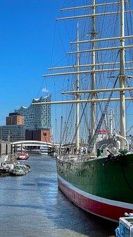 Hamburg, Port, Ship, Rickmers Rickmers, Sailing Ship