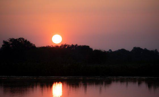 Sunrise, River, Reflection, Silhouette, Morning, Dawn