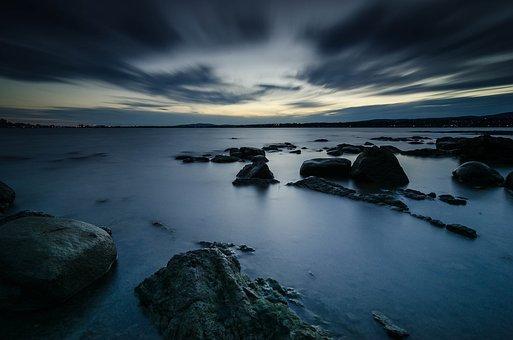 River, Rocks, Dusk, Evening, Sky, Clouds, Water, Stones