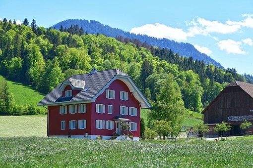 Village, House, Hill, Barn, Buildings, Landscape