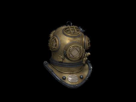 Diving Helmet, Antique, Metal, Nautical, Vintage, Old