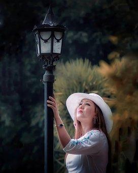 Woman, Street Lamp, Beauty, Fashion, Girl, Style, Alone