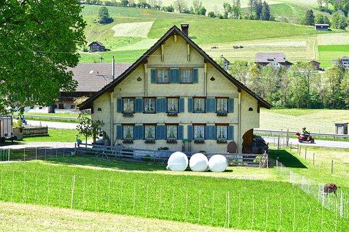 House, Cabin, Garden, Entlebuch, Switzerland, Landscape