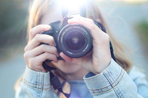 Woman, Camera, Lens, Photographer, Photography, Hobby