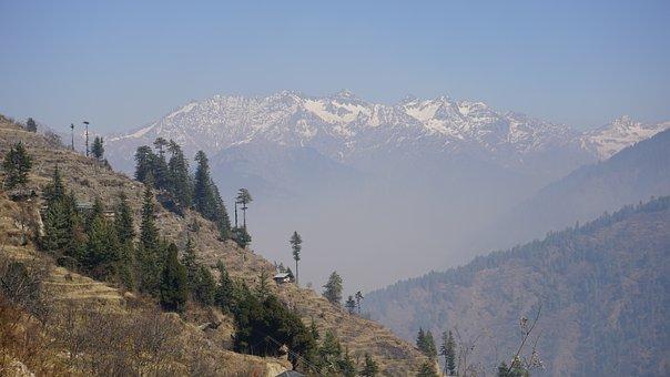 Himalaya, Mountains, Landscape, Slope, Village, Fog