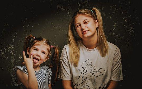Mun, Daughter, Portrait, Family, Girl, Mom, Mother