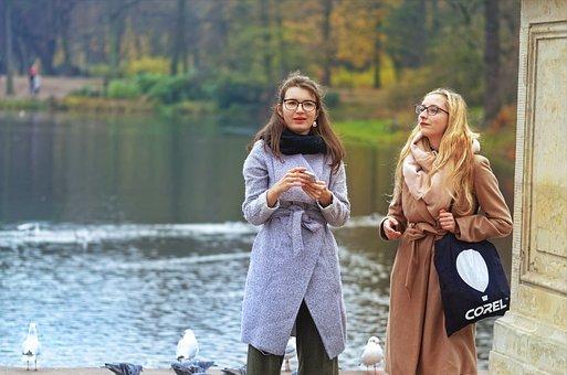 Girls, Women, People, Relaxing, Park, Nature, Autumn