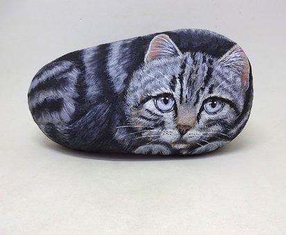 Stone, Cat, Portrait, Kitten, Feline, Animals