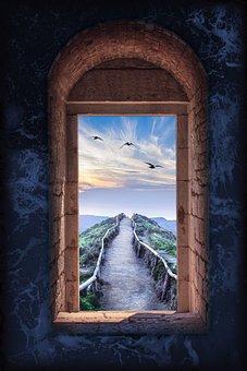 Gothic Window With A View, Dark, Scenery, Window