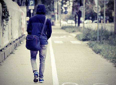 Man, Walking, Street, Sidewalk, Pavement, Road