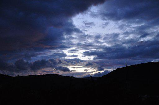 Clouds, Dusk, Sunset, Evening, Gloomy, Mountains