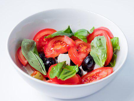 Salad, Tomatoes, Food, Dish, Caprese, Basil, Olives