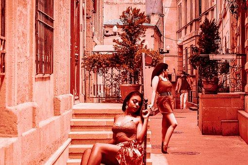 Women, Man, Encounter, Young, Street, Road, Summer