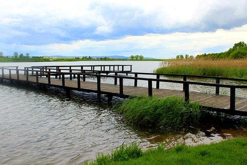 Footbridge, Lake, Wooden Walkway, Bridge, The Pier