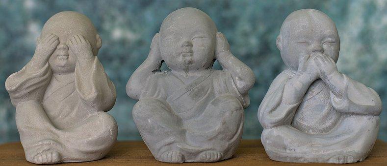 Three Wise Monkeys, Buddha, Statue, Mizaru, Kikazaru