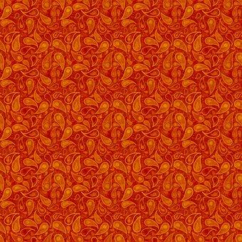 Oriental, Eastern, Ethnic, Paisley, Orange, Autumnal