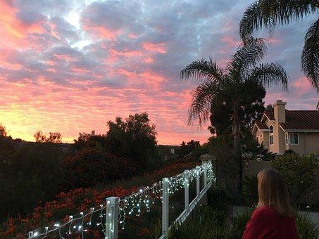 Sunset, Patio, Fairy Lights, Sky, Clouds, Sunlight
