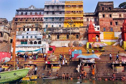 River, City, Varanasi, Ghats, Stairs, Steps, People