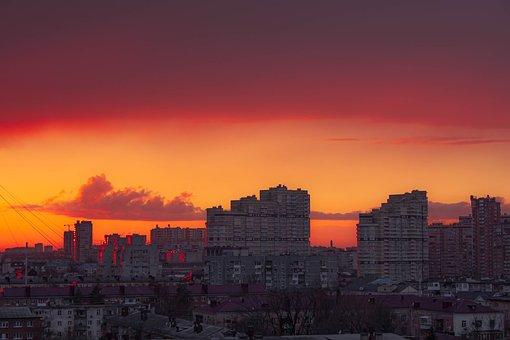 Krasnodar, City, Sunset, Skyline, Skyscrapers