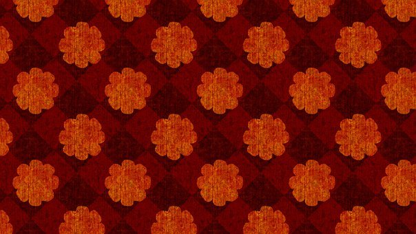 Autumn, Floral, Flowers, Squares, Checkered, Wallpaper