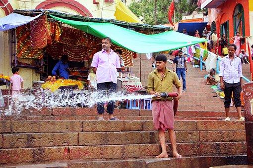 Man, Hose, Varanasi, Ghats, Water, Spray, Steps, Stairs