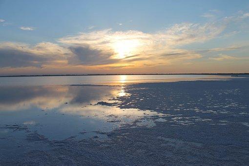 Lake, Evening, Water, Salt, Sky, Nature, Summer, Clouds