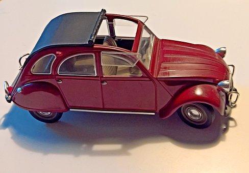 Auto, Model Car, Citroen, 2 Cv, Duck, Purple