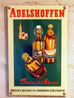 Adelshoffen, Beer, Advertising, Signs, Enamel, Museum