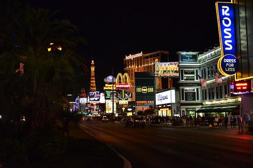 Las Vegas, Night, Road, Light, Advertising, Neon Sign