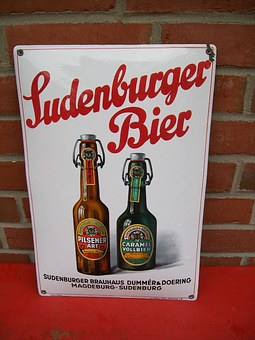 Sudenburger Beer, Beer, Barley Juice, Metal Sign