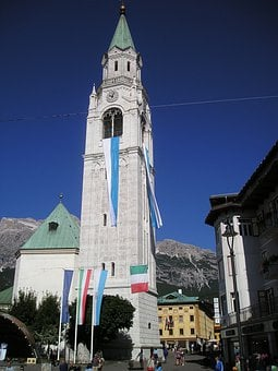 Cortina D'ampezzo, Church, Belluno, Veneto, Center