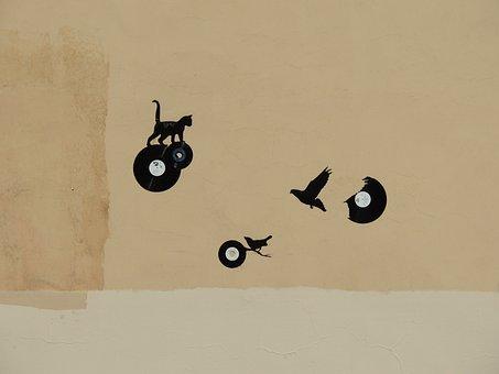 Grafiti, Wall, Street Art, Cat, Graph, Chat, Black