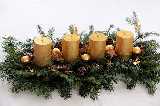 Candle, Advent Wreath, Advent Arrangement, Advent