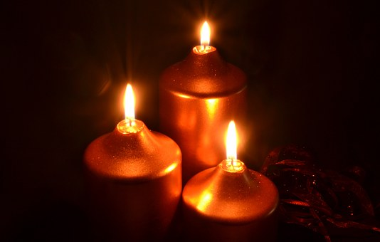 Advent, Golden Candles, Gold, Candlelight, Christmas