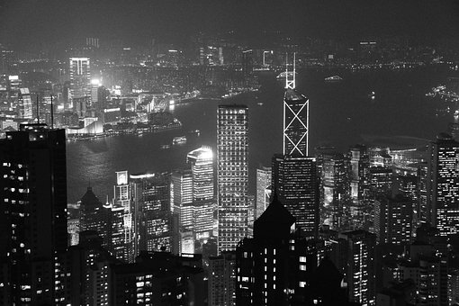 Night, City, View, Cityscape, China, Hong Kong, Asia