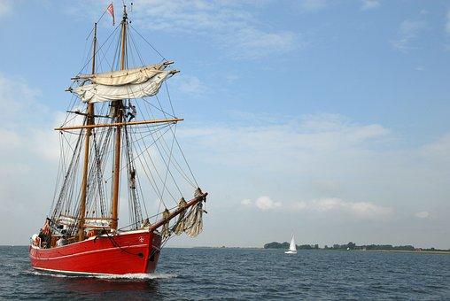 Sailing Vessel, Baltic Sea, Sea, Water, Clouds